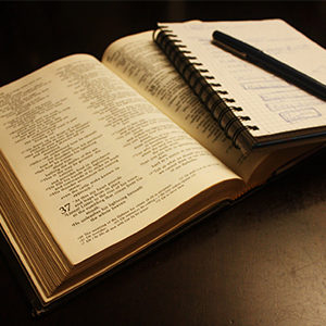 A bible with sermon notes